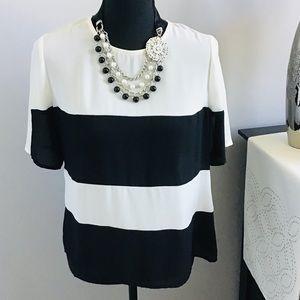 Tops - Black & ivory colorblock blouse